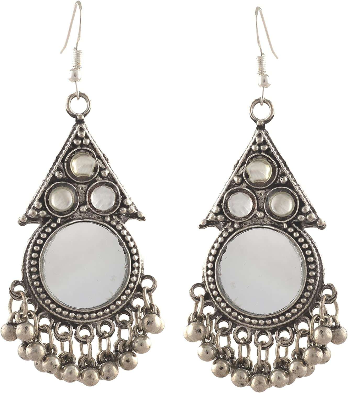 Zephyrr Fashion German Silver Beaded Turkish Style Chandbali Earrings Combo of 2