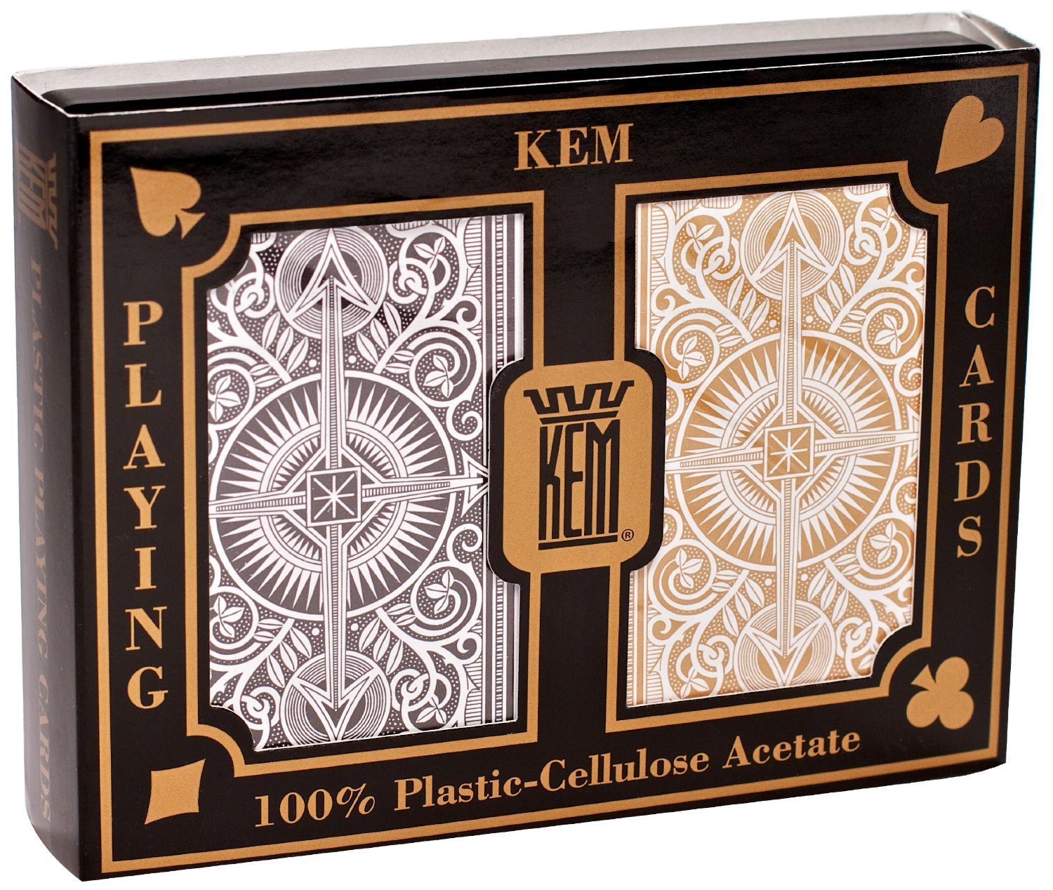 KEM Arrow Poker Size Playing Cards: Black and Gold, Wide Jumbo Index (3-Pack of 2)