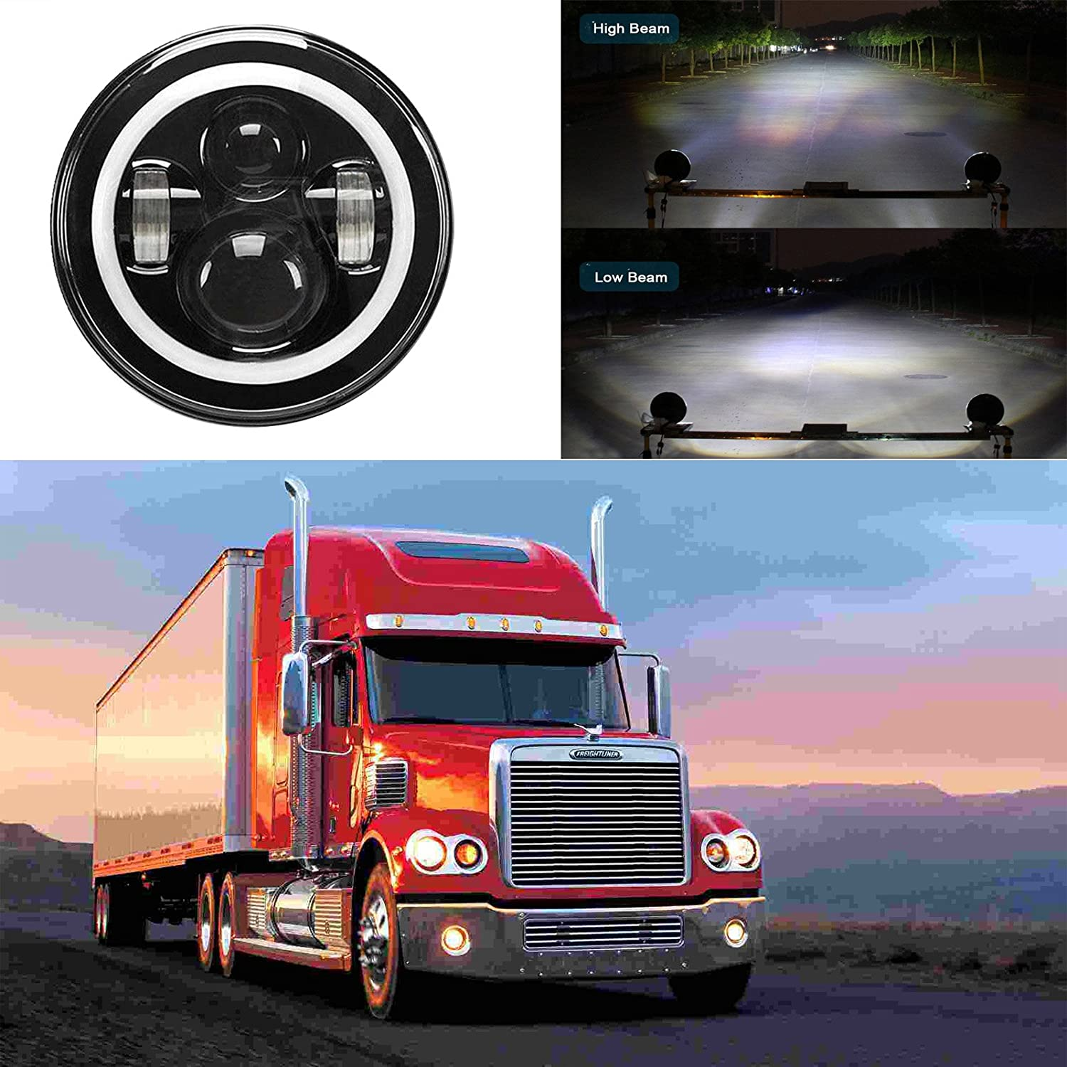 7 Inch For Freightliner Coronado Led Round Headlight Wiring Diagram Halo Ring Angel Eye High Low Double Beam Drl Turning Signal Light Replacement 1pcs