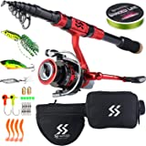 Sougayilang Portable Telescopic Fishing Rod Reel Combos Carbon Fiber Spinning Fishing ploe and Spinning Reel, Car, Hiking, Ba