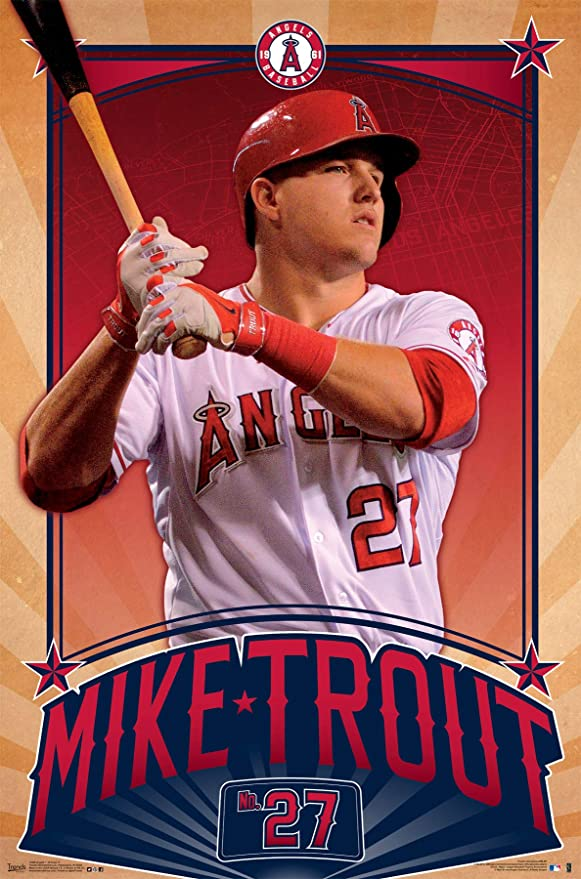 """Mike Trout poster wall art home decor photo print 24x24/"""" inches"""