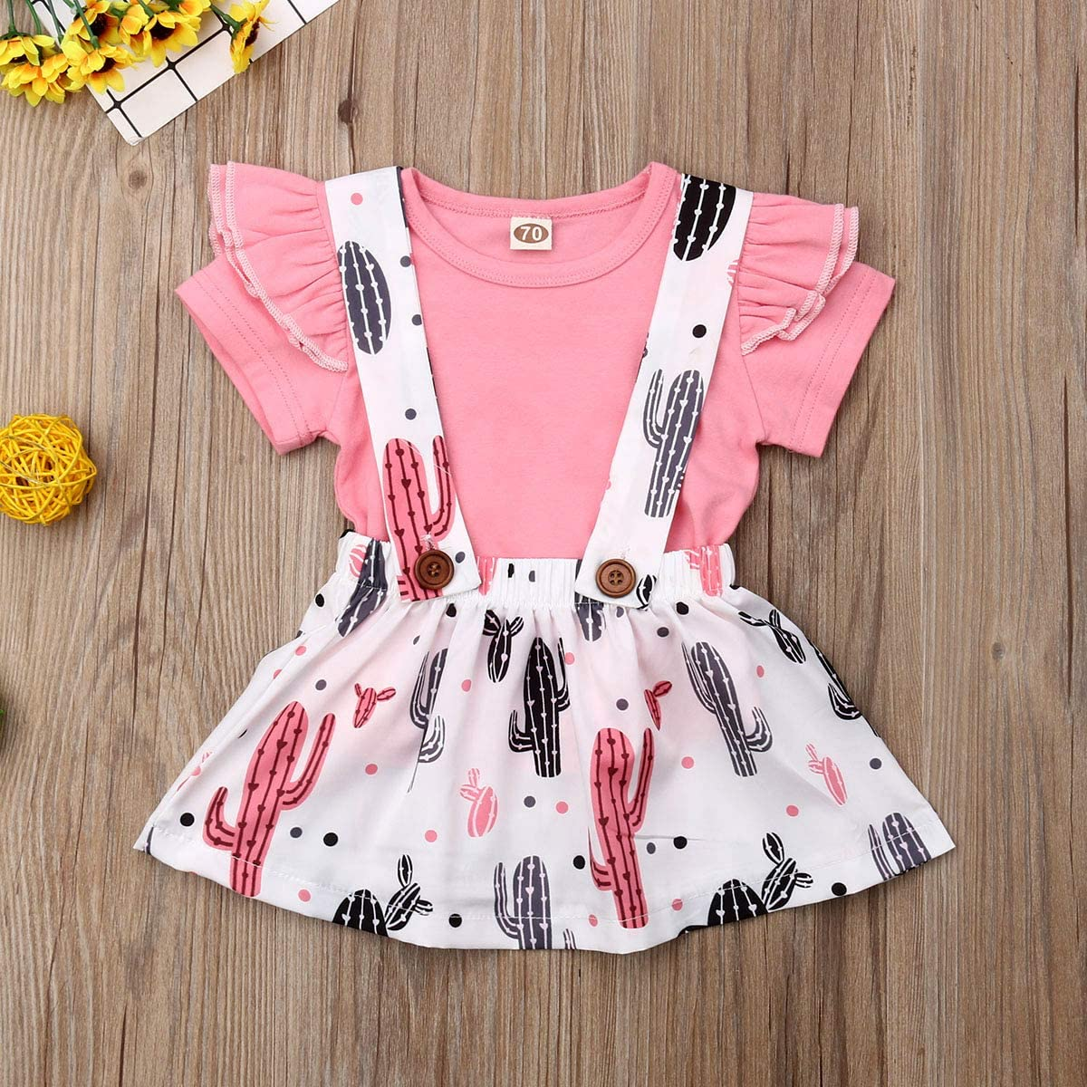 Jimanyang Newborn Infant Baby Girl Short Sleeve Ruffled T-Shirt Cactus Print Suspender Skirt Set 0-24 Months