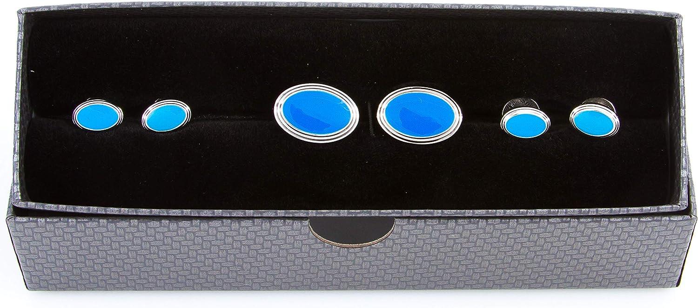 MRCUFF Oval Blue Cufflinks and Studs Tuxedo Set in a Presentation Gift Box & Polishing Cloth
