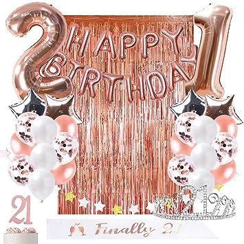 Amazon.com: OUGOLD 21st cumpleaños decoraciones oro rosa ...