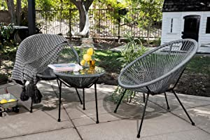 Barton 3pcs Acapulco Chair Set w/Glass Top Table All-Weather Resistant Steel Frame, Grey