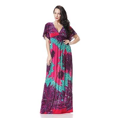 Zuku Life Women's Summer Deep V-Neck Versatile Long Floral Print Maxi Dress #009