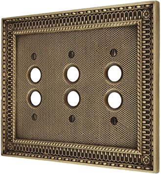 House Of Antique hardware  Floral Push Button Switch Plate Double Gang