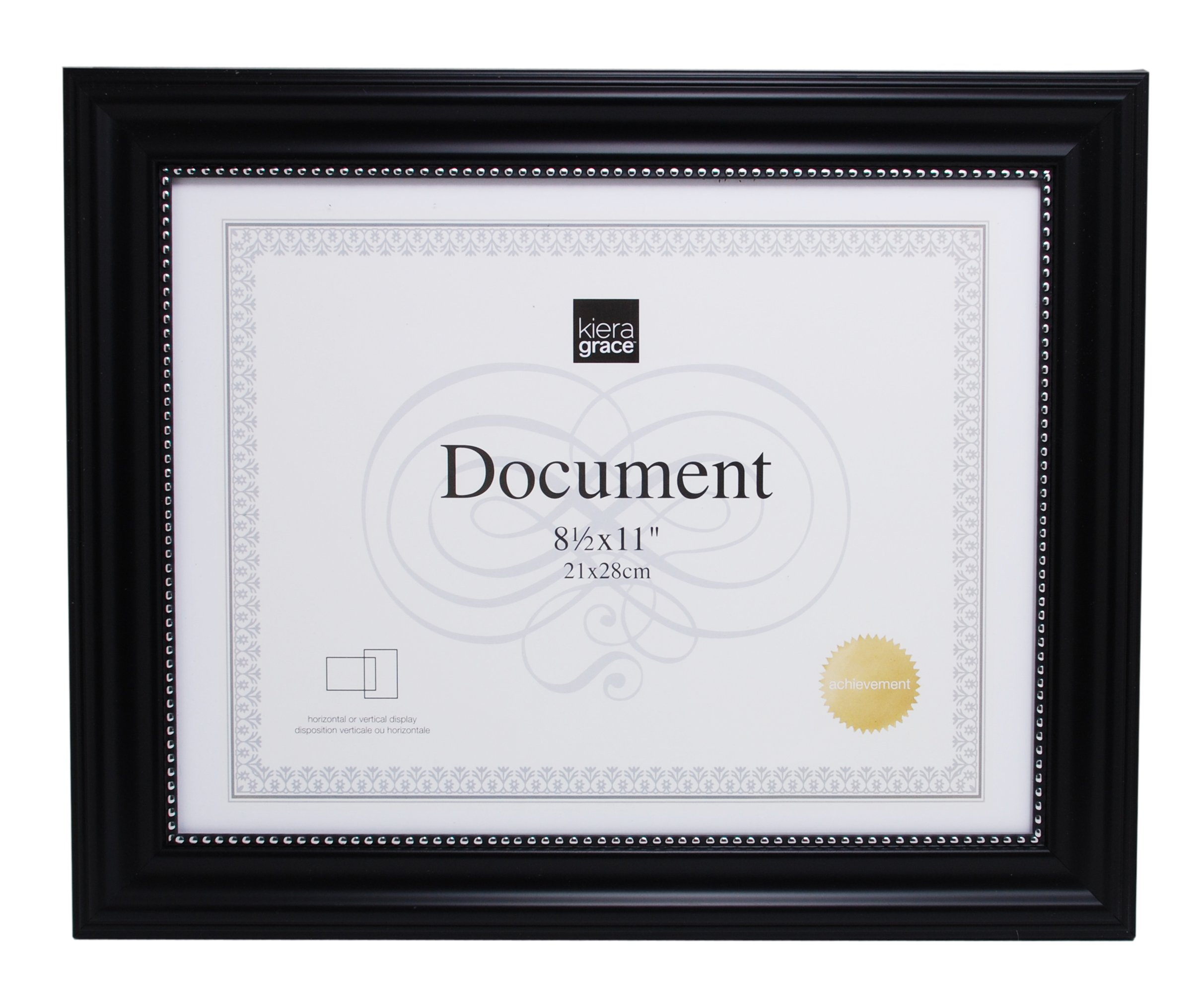 Kiera Grace Lucy Document Frame, 8.5 by 11-Inch, Pack of 12, Black with Silver Beading