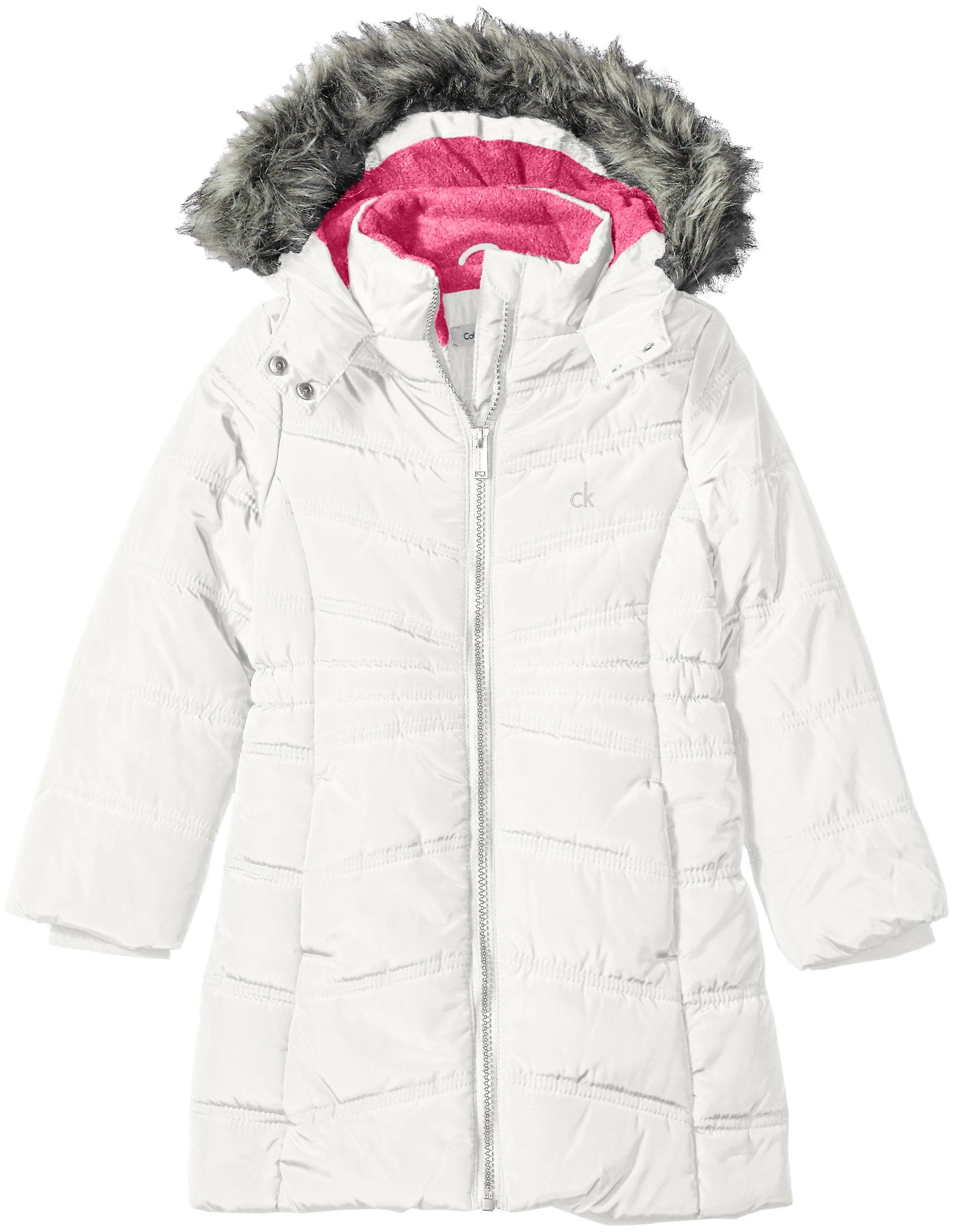 Calvin Klein Little Girls' Long Puffer Jacket, Off White, 5