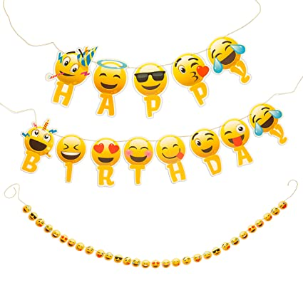 Amazon Artistrend Happy Birthday Banner Emoji With Garland Strip Toys Games
