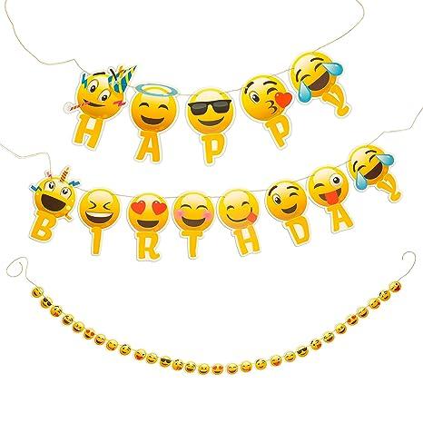 Amazon.com: Guirnalda Feliz Cumpleaños Banner Emoji con ...