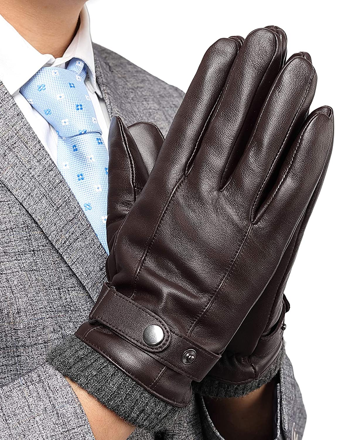 Mens Leather Gloves Touchscreeen Winter Warm Gloves with 3M Thinsulate Texting Driving Outdoor Mittens Gifts