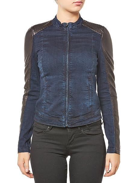 ONLY Jeans Leder Jacke Jeansjacke Damen STARLET Biker Pu Blau-Schwarz Gr. 40 73a9f1fe90