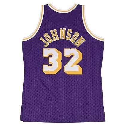 Mitchell & Ness Magic Johnson Los Angeles Lakers NBA Throwback HWC Morado Jersey: Amazon.es: Deportes y aire libre