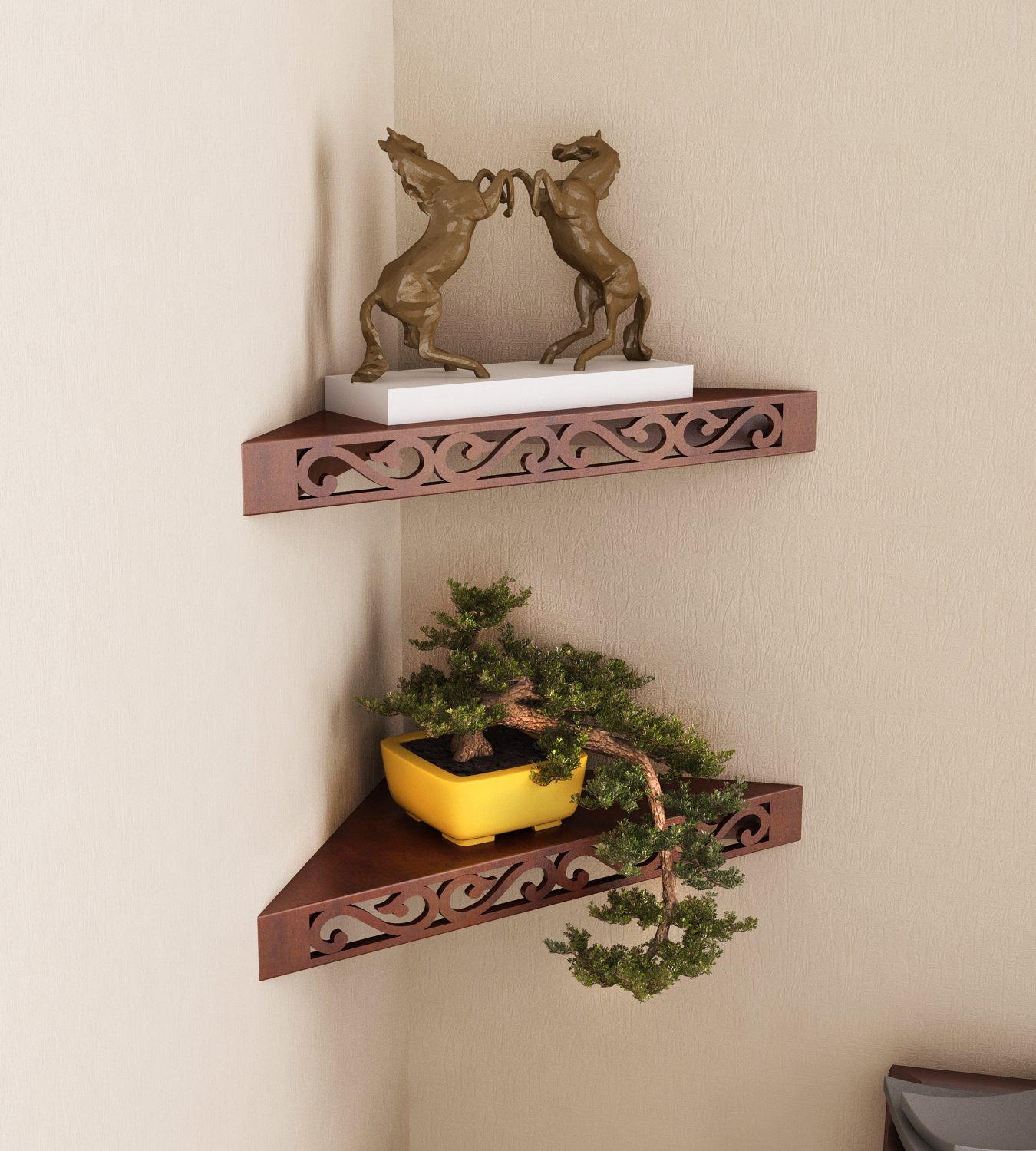 Home Sparkle Corner Wall Shelfs Triangular Wooden Corner Wall Shelves For Living Room Office And Bedroom Set Of 2 Brown Buy Online In Angola At Angola Desertcart Com Productid 75988118