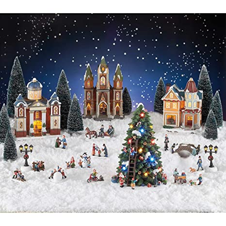 Christmas Village Sets.30 Piece Christmas Village Holiday Decoration Set Features Musical Trees Lighted Buildings Figures And Lamp Posts