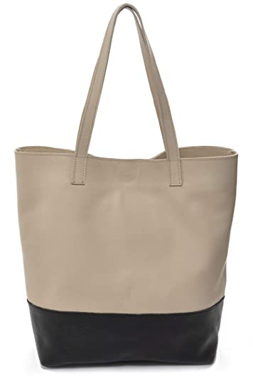 094eeaaa8df2b Image Unavailable. Image not available for. Color   Keira  Designer Tote Bag  in Black and Tan Italian Nappa ...