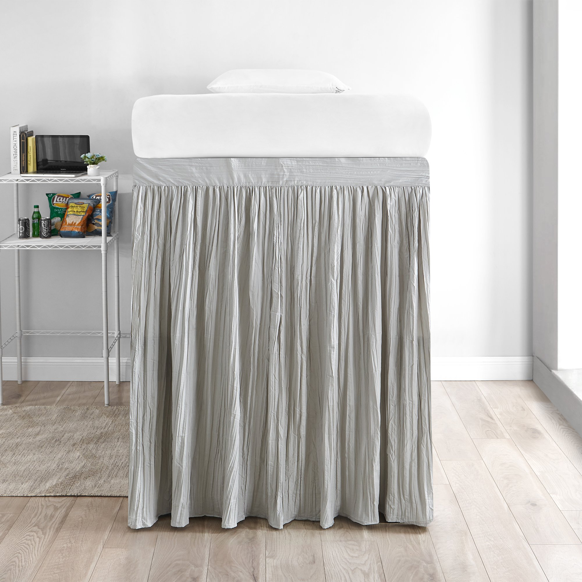 DormCo Crinkle Extended Bed Skirt Twin XL (3 Panel Set) - Silver Birch