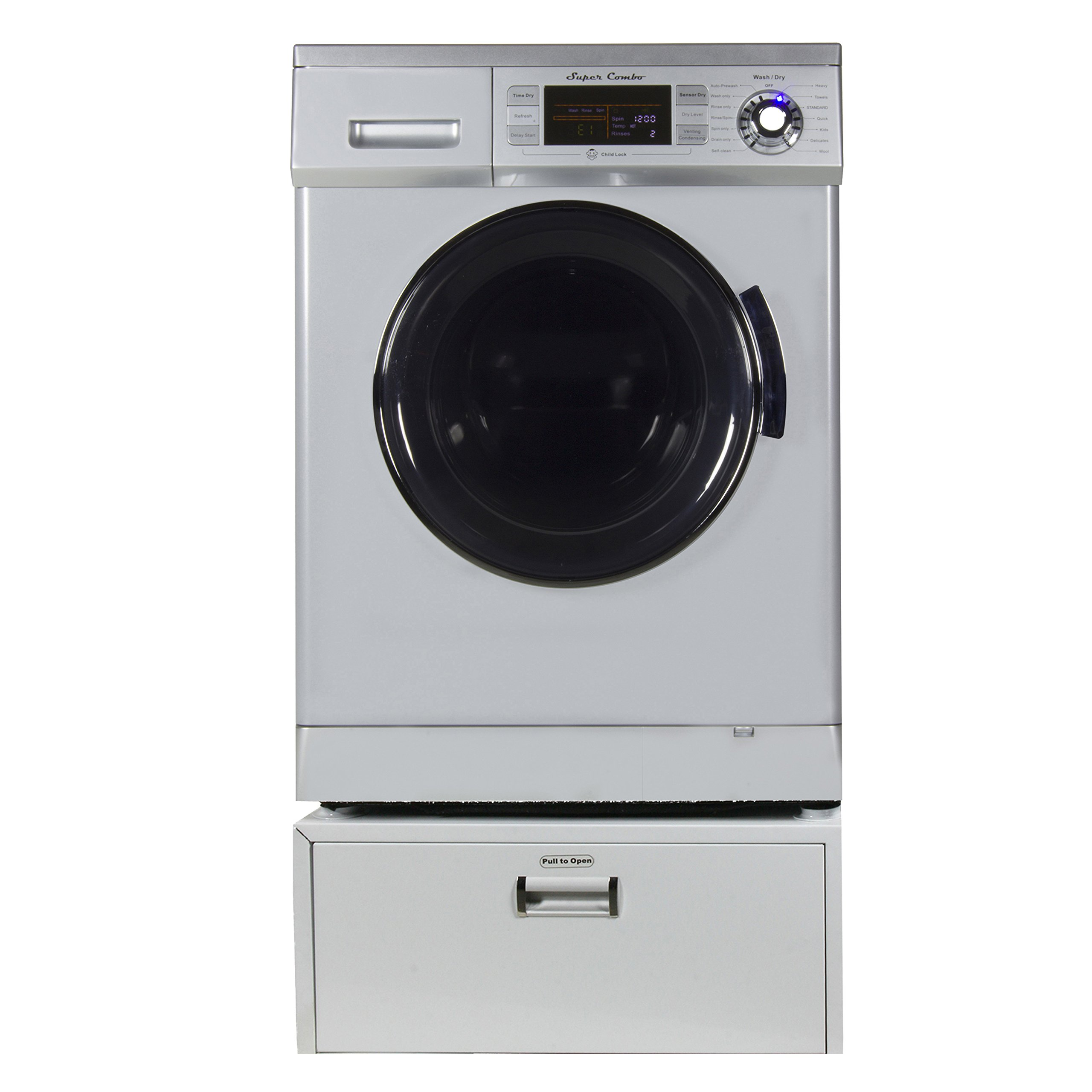 Equator Super Combo Washer-Dryer EZ 4400 11 '' High Pedestal with Storage drawer, in Silver