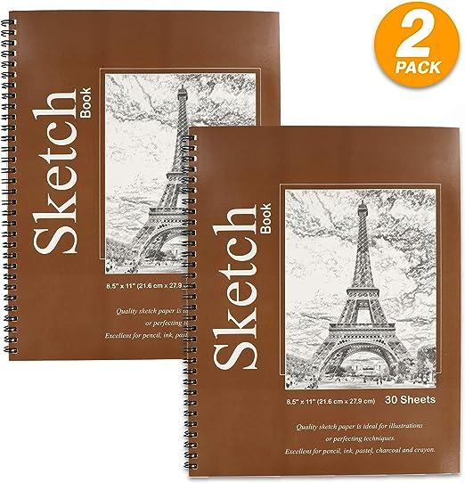 """30 Sheets 8.5/"""" X 11/"""" Side Bound Spiral Premium Sketch Book"""