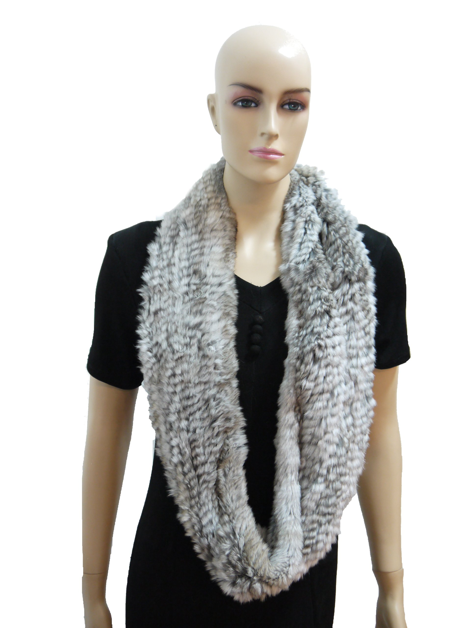 55'' Rex Rabbit Fur Infinity Scarf (Natural Grey) by Hima