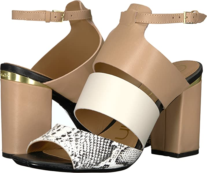 9e37bd0b5d3 Calvin Klein Women s Caran Heeled Sandal Black White Snake 5.5 Medium US.  Back. Double-tap to zoom