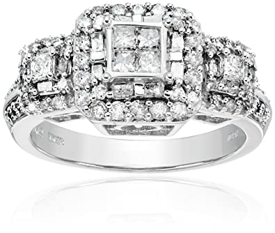 10k White Gold Diamond Engagement Ring 1 cttw I J Color I2 I3