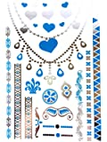 METALLIC TEMPORARY FLASH TATTOOS SILVER TURQUOISE BODY ART 6 DESIGNS [26]