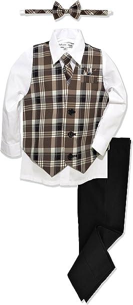 JL46 Johnnie Lene Boys Formal Plaid Dresswear Vest Set