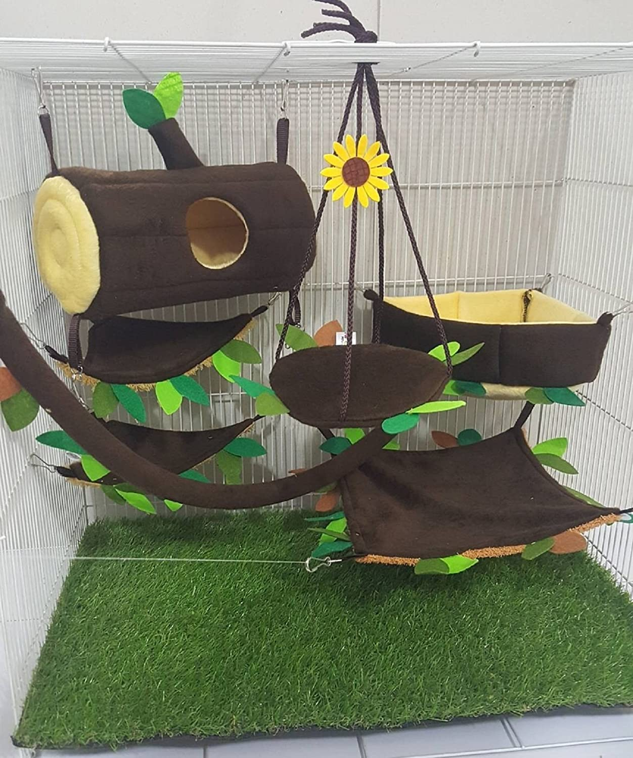 HOT! 7 Pcs/Set Cute Sugar Glider Hamster Marmoset Squirrel Chinchillas Small Pet Hanging Log + Edge Corner Dark Brown Cage Set Forest Pattern Get Free 1 Small Pet Treats, PB's REPUBLIX