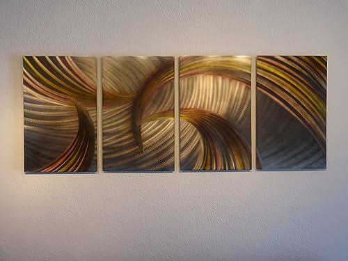 Miles Shay Metal Wall Art, Modern Home Decor, Abstract Wall Sculpture – Bronze Tempest