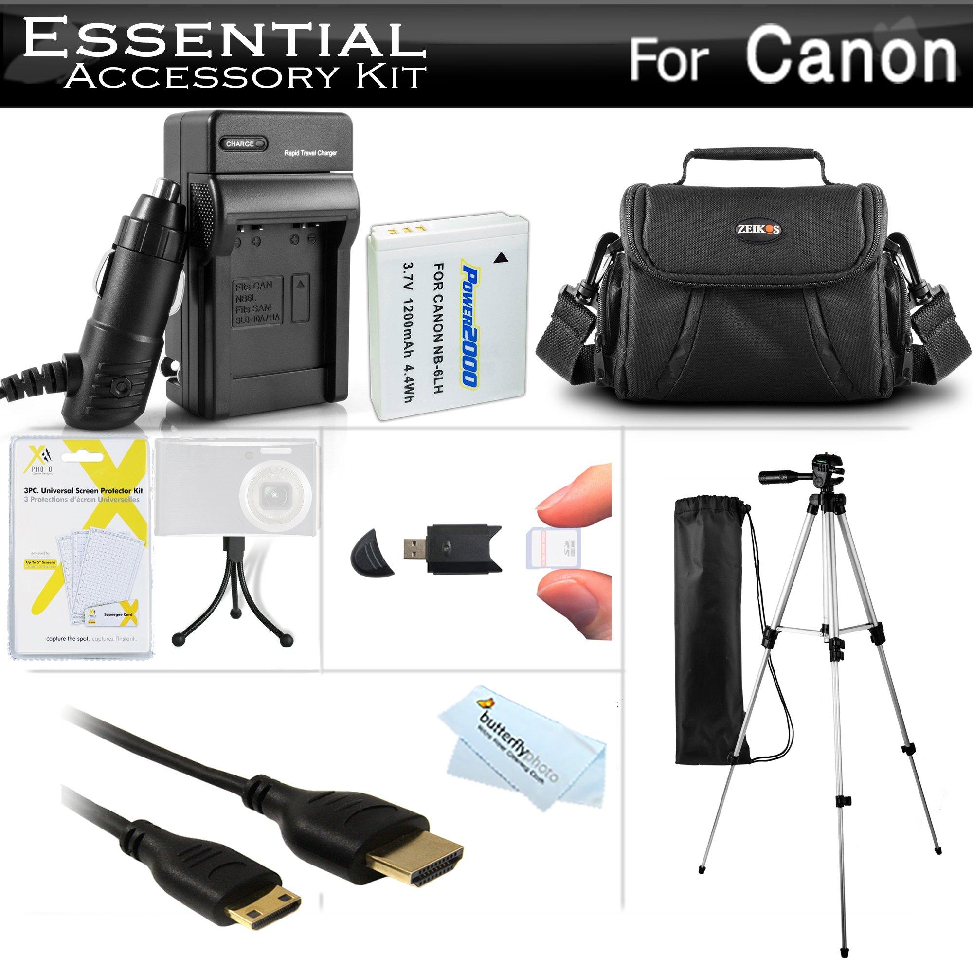 Essential Accessories Kit For Canon PowerShot SX500 IS, SX510 HS, SX520 HS, SX530 HS, SX540 HS Digital Camera Includes Replacement NB-6L Battery + A/Dc Charger + Mini HDMI Cable + Case + Tripod + More