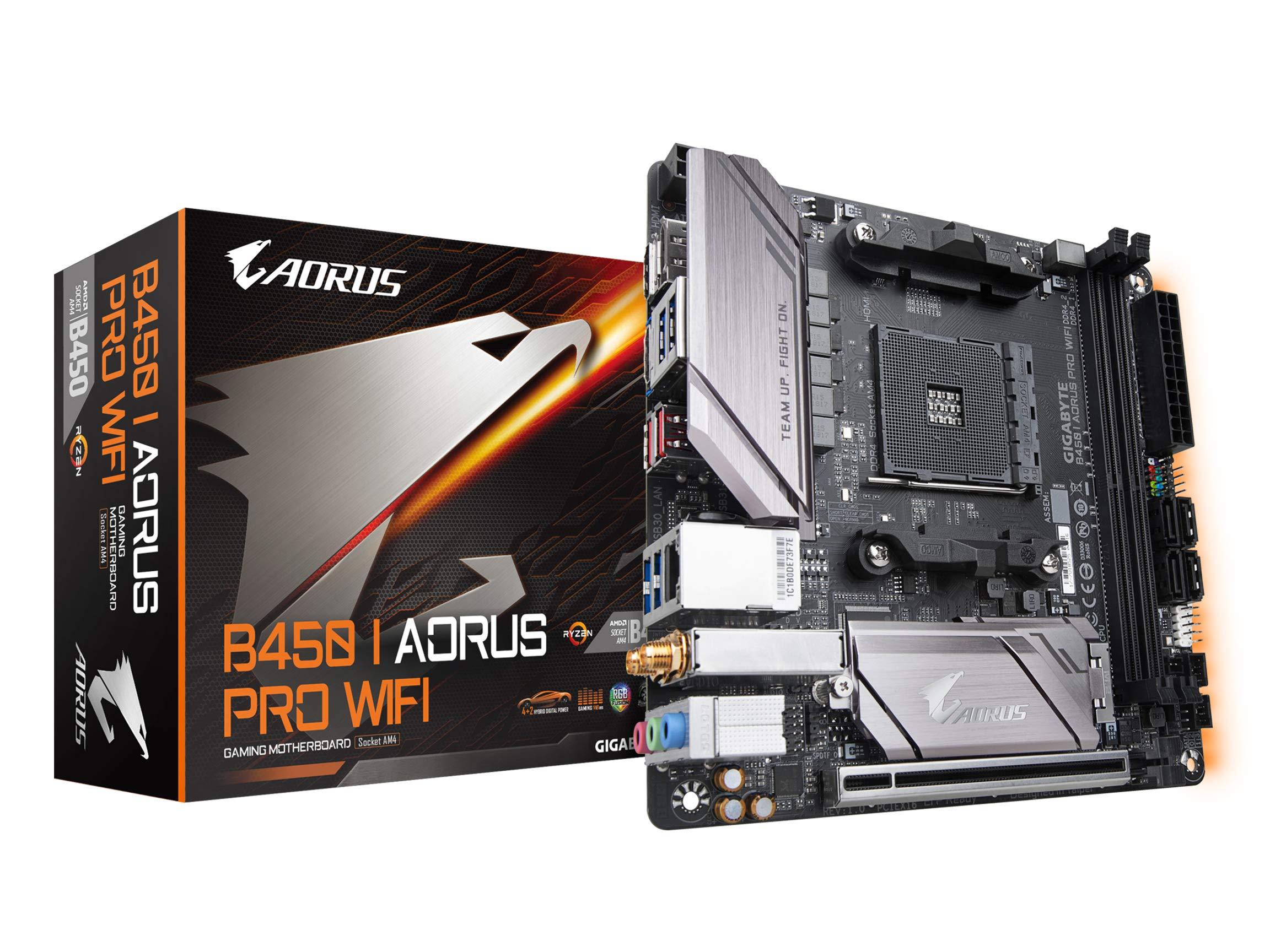 GIGABYTE B450 I AORUS PRO WiFi (AMD Ryzen AM4/M.2 Thermal Guard with Onboard WiFi/HDMI/DP/USB 3.1 Gen 2/Mini ITX/Motherboard) by Gigabyte