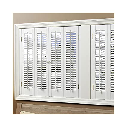 Exceptionnel HomeBASICS Traditional Faux Wood White 4 Panel Interior Shutter, ...