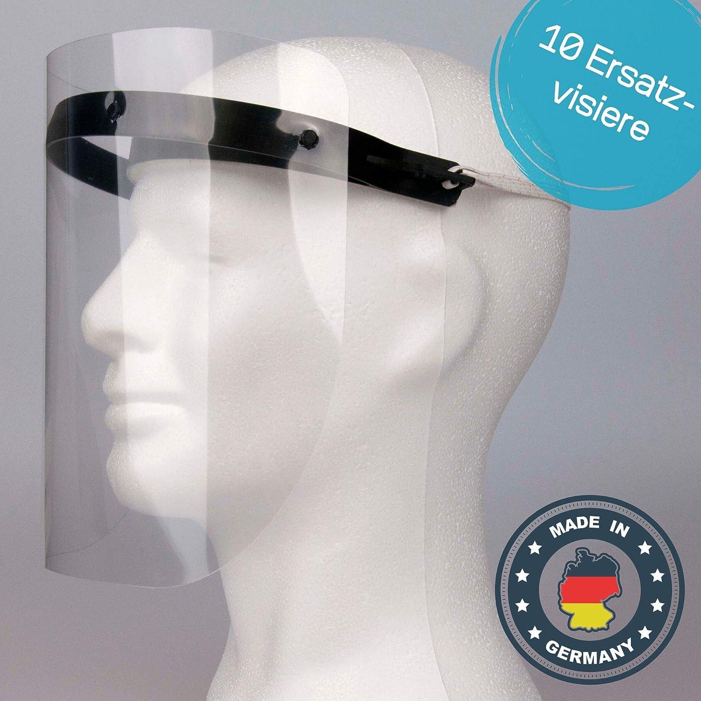 Universal Gesichtsschutz Face Shield f/ür Mund Nase Visier zum Schutz vor Fl/üssigkeiten 10 St/ück Grau Schutzvisier in Transparent 10 x Gesichtsvisier aus Kunststoff