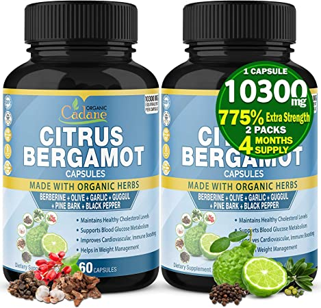 2 Packs Citrus Bergamot Extract Capsules 10300mg, 4 Months Supply & Berberine, Olive, Guggul, Garlic, Pine Bark, Black Pepper|High Cholesterol Levels Lowering Supplements|Promotes Blood Sugar Pressure
