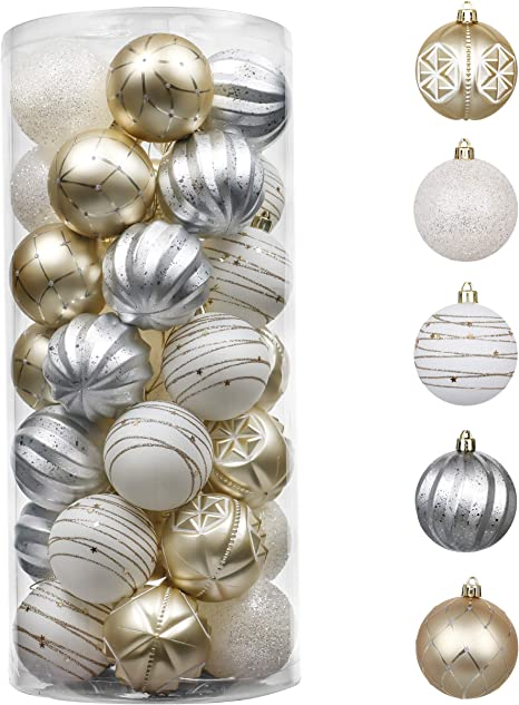 Amazon Com Valery Madelyn 35ct 70mm Christmas Ball Ornaments Gold White Shatterproof Plastic Christmas Tree Ornaments Decoration Home Decor Themed With Tree Skirt Not Included Kitchen Dining