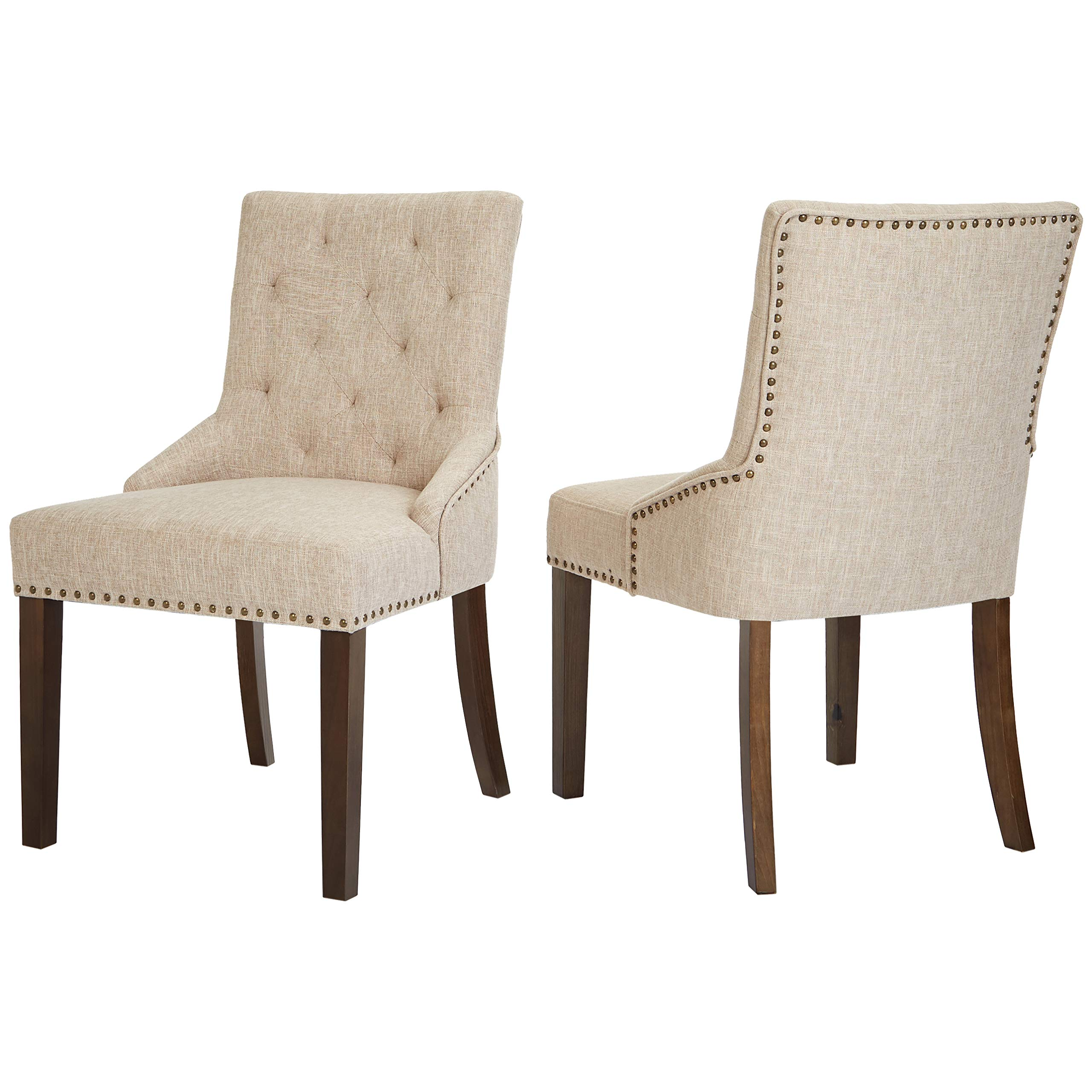 Red Hook Martil Upholstered Dining Chair with Nailhead Trim, Biscuit Beige, Set of 2 by Red Hook (Image #4)
