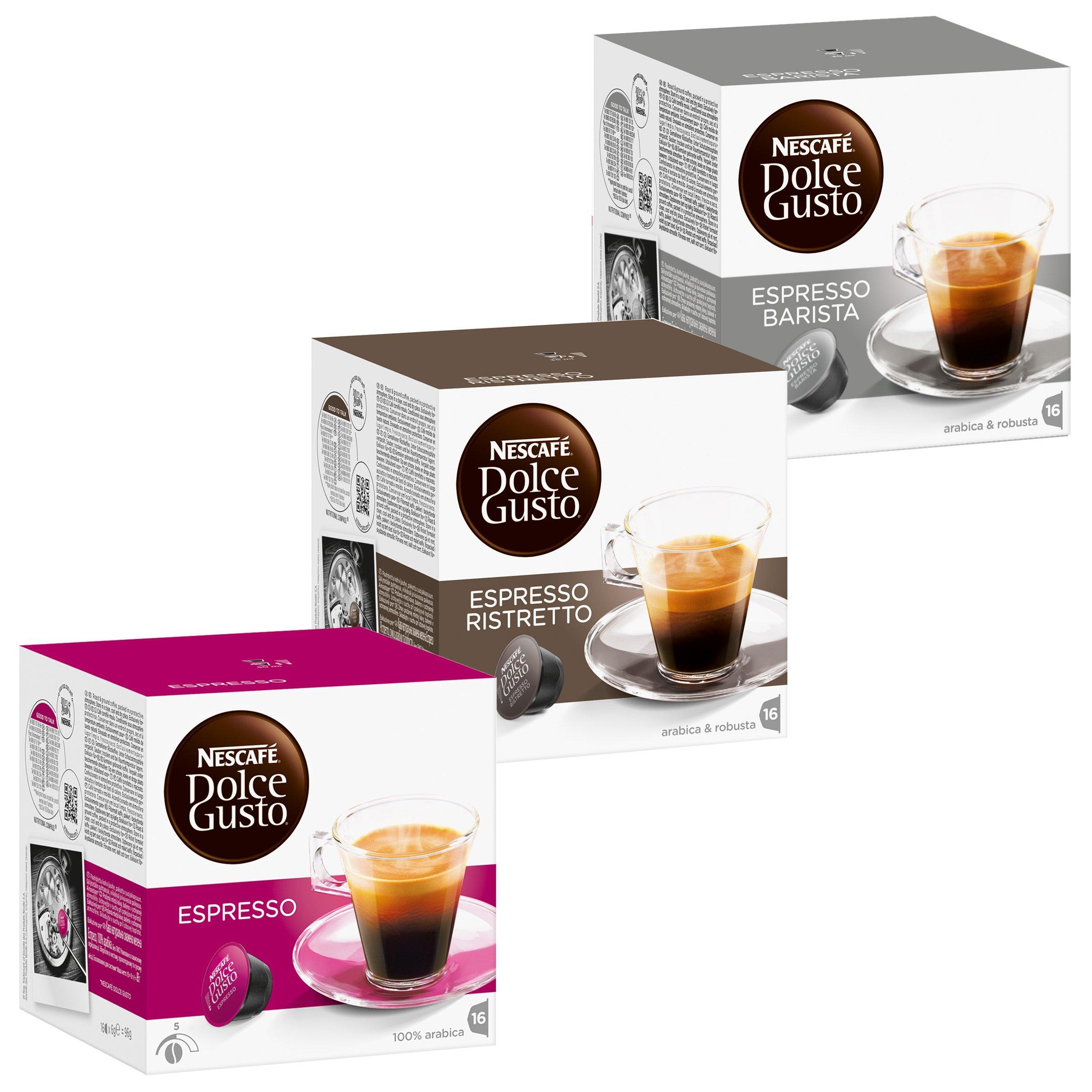 Nescafé Dolce Gusto Rapido Set: Espresso, Ristretto, Barista, 3 x 16 Capsules