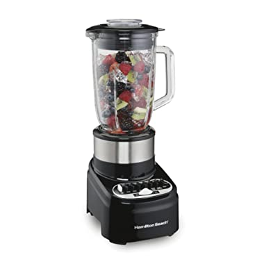 Hamilton Beach 54210 Blender with 40 oz Glass Jar for Shakes & Smoothies, 14 Speeds, 800 Watts, Stainless Steel