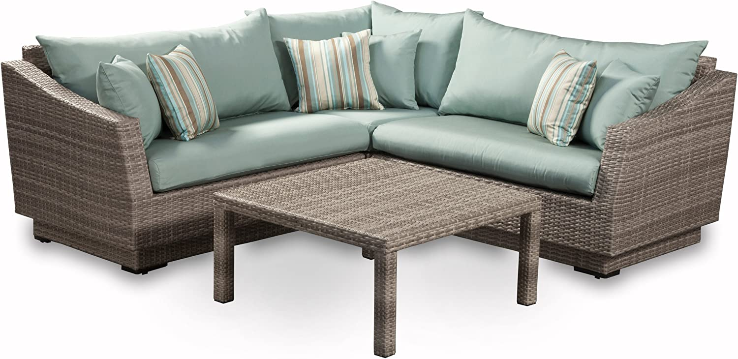 RST Brands 4-Piece Cannes Sectional and Conversation Table Patio Furniture Set, Bliss Blue