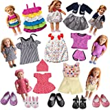 18 inch Doll Clothes for Our Generation- 7 Doll Clothes + 5 Doll Shoes - Doll Accessories Set for Our Generation Doll and 18 Inch Doll (Doll is not included)