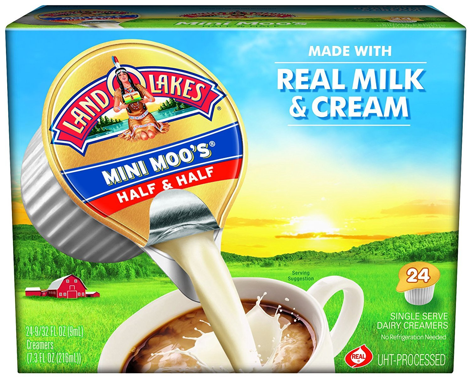 Land O Lakes Mini Moo's Real Cream Half & Half, 9 mL Cups, 24 Count (Pack of 12)