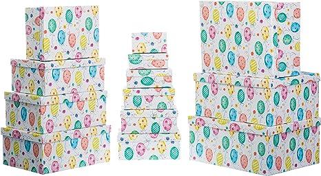 Brandsseller - Caja de cartón con Tapa, Estable, Juego de 13 Unidades, Papel, Luftballons, 37,5cm x 29cm x 16cm bis 13cm x 7,5cm x 4,4cm: Amazon.es: Hogar