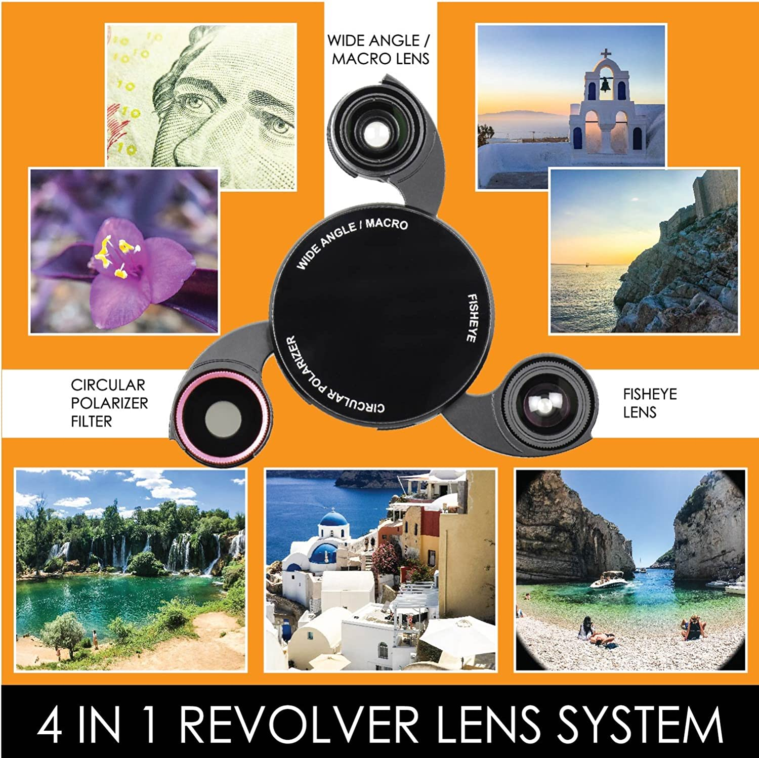 Black Carbon Fiber CPL Wide Angle Lens Macro Lens Fisheye Lens Ztylus Revolver M Series Camera Kit: 4 in 1 Lens with Case for Samsung Galaxy Note 8