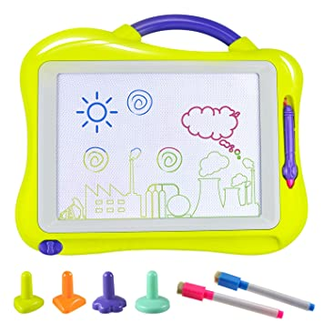 Tablero de Dibujo, Fixget Almohadilla Borrable Infantil Tablero Pizarra Colorido con 2 Lápices de Dibujo Desarrollo Habilidades Regalo de juguetes ...