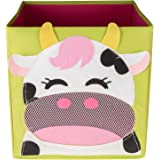 Kid's Happy Cow Collapsible Toy Storage Organizer by Clever Creations | Toy Box Folding Storage Cube for Kids Bedroom | Perfect Size Storage Cube for Books, Kids Toys, Baby Toys, Baby Clothes