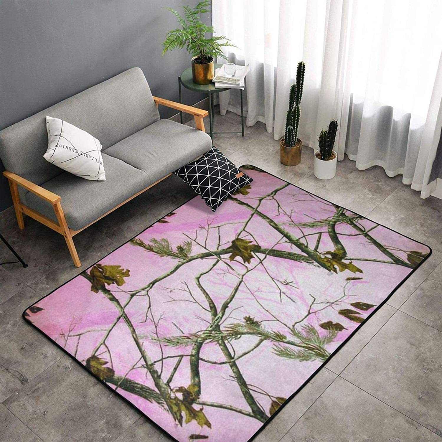Furry Kids Rugs 60 X 39 Inch Area Rug for Girls Bedroom Nursery Play Room Luxury Fashion Pink Realtree Camo Carpet for Living Room Home Decor Dinning Room