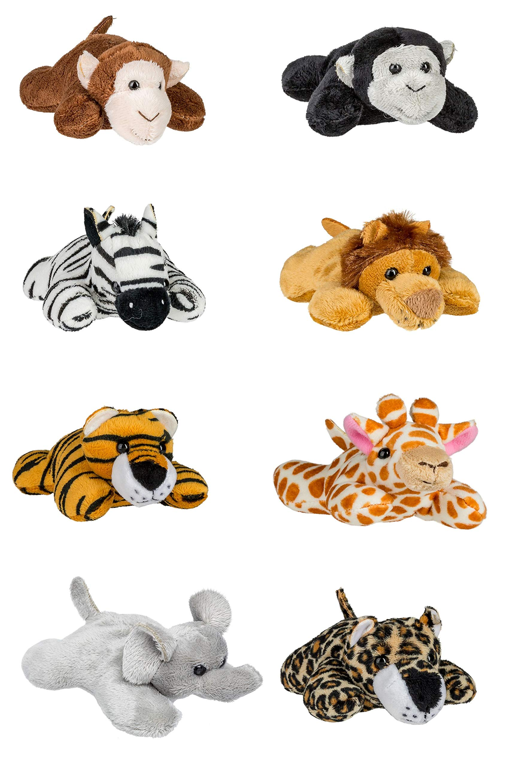 Wildlife Tree 8 Pack Jungle Safari Mini 4 Inch Small Stuffed Animals, Variety of Zoo Animal Toys, Party Favors for Kids by Wildlife Tree