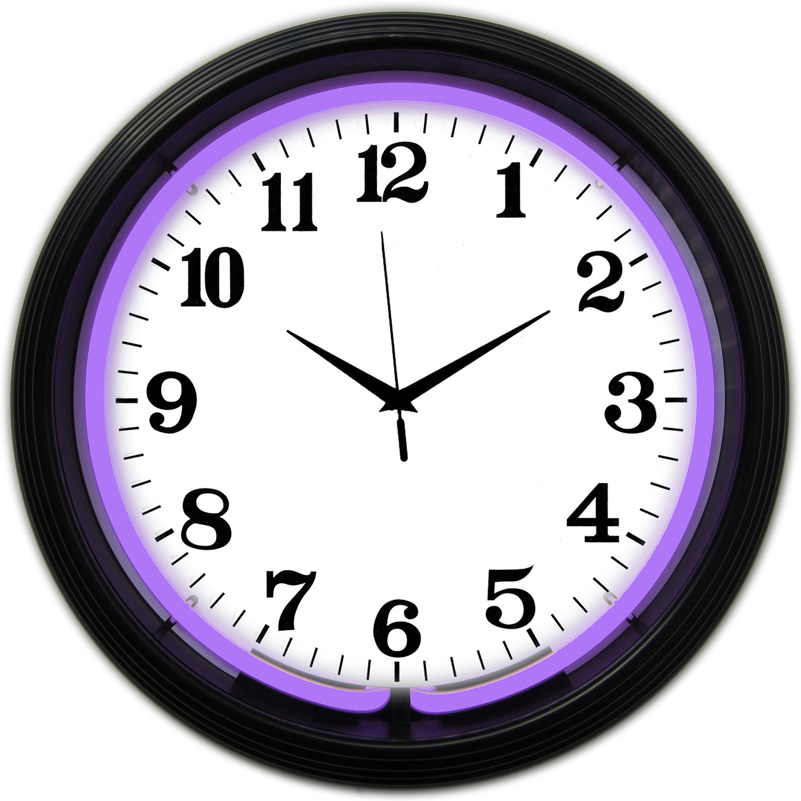 Neonetics Bar and Game Room Neon Alphanumeric Wall Clock with Purple Neon and Black Rim, 15-Inch